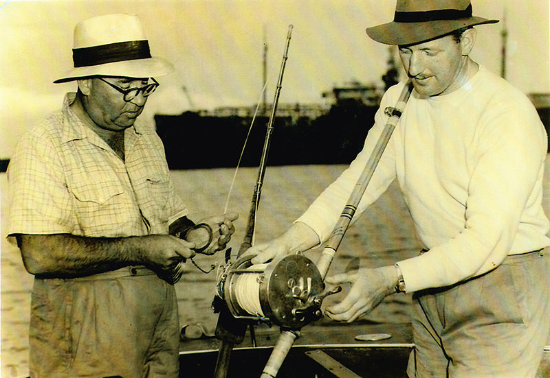 "Left: Max Lawson, probably the most successful angler of the era 1946-1958, His vessel ""Murrawolga"" was the THE vessel of the period. Right: Jack Kelly, successor to Clive Firth as President NSWGFA (1947-52) On board Max's ""Murrawolga"" circa 1948"